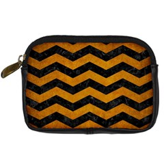 Chevron3 Black Marble & Yellow Grunge Digital Camera Cases