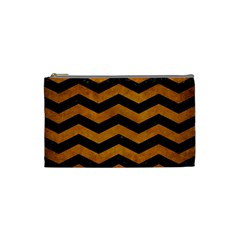 Chevron3 Black Marble & Yellow Grunge Cosmetic Bag (small)