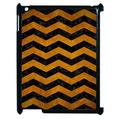 Chevron3 Black Marble & Yellow Grunge Apple Ipad 2 Case (black)