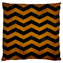 Chevron3 Black Marble & Yellow Grunge Large Cushion Case (two Sides)
