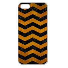 Chevron3 Black Marble & Yellow Grunge Apple Seamless Iphone 5 Case (clear)