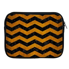 Chevron3 Black Marble & Yellow Grunge Apple Ipad 2/3/4 Zipper Cases