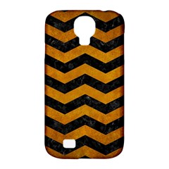 Chevron3 Black Marble & Yellow Grunge Samsung Galaxy S4 Classic Hardshell Case (pc+silicone)