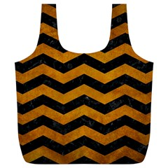 Chevron3 Black Marble & Yellow Grunge Full Print Recycle Bags (l)
