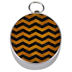 Chevron3 Black Marble & Yellow Grunge Silver Compasses