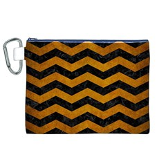 Chevron3 Black Marble & Yellow Grunge Canvas Cosmetic Bag (xl)