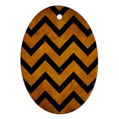 Chevron9 Black Marble & Yellow Grunge Ornament (oval)