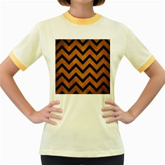 Chevron9 Black Marble & Yellow Grunge Women s Fitted Ringer T Shirts