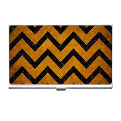 Chevron9 Black Marble & Yellow Grunge Business Card Holders