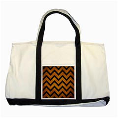 Chevron9 Black Marble & Yellow Grunge Two Tone Tote Bag