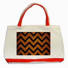 Chevron9 Black Marble & Yellow Grunge Classic Tote Bag (red)