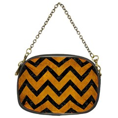 Chevron9 Black Marble & Yellow Grunge Chain Purses (two Sides)