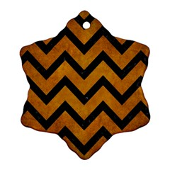 Chevron9 Black Marble & Yellow Grunge Ornament (snowflake)