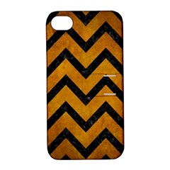 Chevron9 Black Marble & Yellow Grunge Apple Iphone 4/4s Hardshell Case With Stand