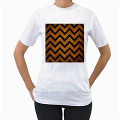 Chevron9 Black Marble & Yellow Grunge Women s T Shirt (white)