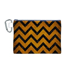 Chevron9 Black Marble & Yellow Grunge Canvas Cosmetic Bag (m)