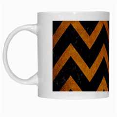 Chevron9 Black Marble & Yellow Grunge (r) White Mugs