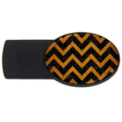 Chevron9 Black Marble & Yellow Grunge (r) Usb Flash Drive Oval (4 Gb)