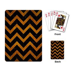 Chevron9 Black Marble & Yellow Grunge (r) Playing Card