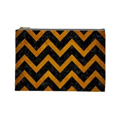 Chevron9 Black Marble & Yellow Grunge (r) Cosmetic Bag (large)