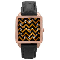 Chevron9 Black Marble & Yellow Grunge (r) Rose Gold Leather Watch