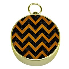 Chevron9 Black Marble & Yellow Grunge (r) Gold Compasses