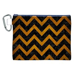 Chevron9 Black Marble & Yellow Grunge (r) Canvas Cosmetic Bag (xxl)