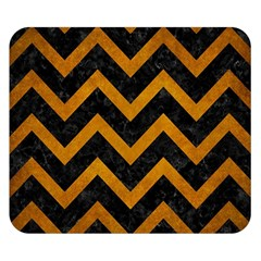 Chevron9 Black Marble & Yellow Grunge (r) Double Sided Flano Blanket (small)