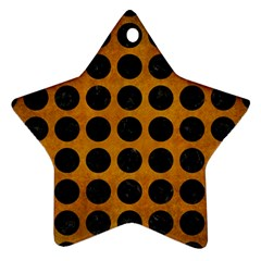 Circles1 Black Marble & Yellow Grunge Ornament (star)