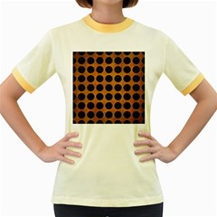 Circles1 Black Marble & Yellow Grunge Women s Fitted Ringer T Shirts