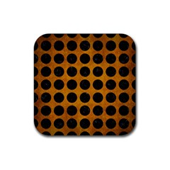 Circles1 Black Marble & Yellow Grunge Rubber Square Coaster (4 Pack)