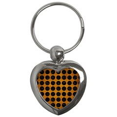 Circles1 Black Marble & Yellow Grunge Key Chains (heart)