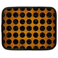 Circles1 Black Marble & Yellow Grunge Netbook Case (large)