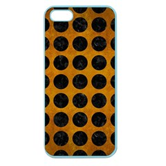 Circles1 Black Marble & Yellow Grunge Apple Seamless Iphone 5 Case (color)