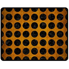 Circles1 Black Marble & Yellow Grunge Double Sided Fleece Blanket (medium)