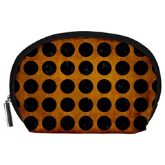Circles1 Black Marble & Yellow Grunge Accessory Pouches (large)