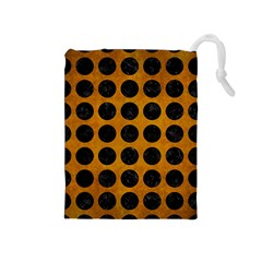Circles1 Black Marble & Yellow Grunge Drawstring Pouches (medium)