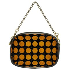 Circles1 Black Marble & Yellow Grunge (r) Chain Purses (one Side)