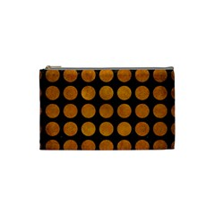 Circles1 Black Marble & Yellow Grunge (r) Cosmetic Bag (small)
