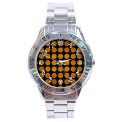 Circles1 Black Marble & Yellow Grunge (r) Stainless Steel Analogue Watch