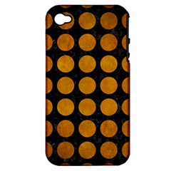 Circles1 Black Marble & Yellow Grunge (r) Apple Iphone 4/4s Hardshell Case (pc+silicone)