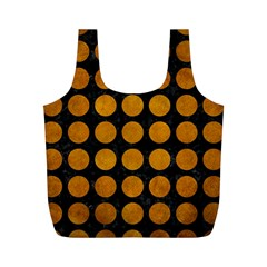 Circles1 Black Marble & Yellow Grunge (r) Full Print Recycle Bags (m)
