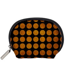 Circles1 Black Marble & Yellow Grunge (r) Accessory Pouches (small)