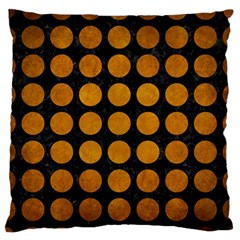 Circles1 Black Marble & Yellow Grunge (r) Large Flano Cushion Case (one Side)