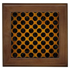 Circles2 Black Marble & Yellow Grunge Framed Tiles