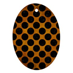 Circles2 Black Marble & Yellow Grunge Ornament (oval)