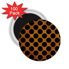 Circles2 Black Marble & Yellow Grunge 2 25  Magnets (100 Pack)