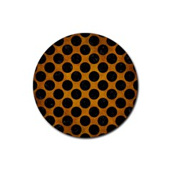 Circles2 Black Marble & Yellow Grunge Rubber Round Coaster (4 Pack)