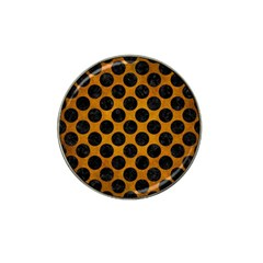 Circles2 Black Marble & Yellow Grunge Hat Clip Ball Marker (4 Pack)