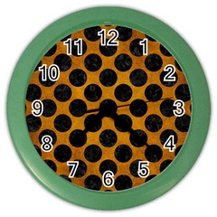 Circles2 Black Marble & Yellow Grunge Color Wall Clocks